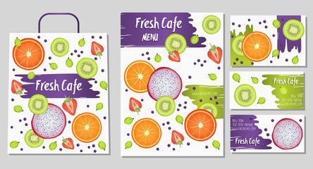 Organic foods shop or vegan cafe identity. Menu template. Summer style. Vector illustration.