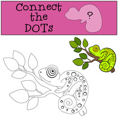 Educational games for kids: Connect the dots. Little cute green chameleon on the tree branch.