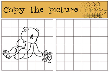 Children games: Copy the picture. Little cute baby bear.