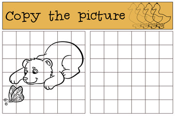 Children games: Copy the picture. Little cute baby bear looks at the butterfly.