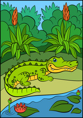 Cartoon animals for kids. Little cute alligator.