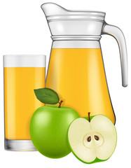 A jug of apple juice. Vector illustration.