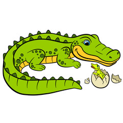 Cartoon animals for kids. Mother alligator looks at her little cute baby alligator in the egg.