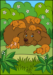 Cartoon animals for kids. Daddy bear with his sleeping little cute baby bears.