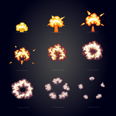 Cartoon explosion effect with smoke. boom, explode flash comic frame