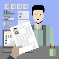 Job interview with male resume. Recruitment and hiring candidate. Professional choice. Hire employee. Career in company.