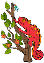 Cartoon animals for kids. Little cute red chameleon sits on the tree branch and looks at the fly.