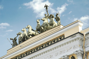 Low angle view of Quadriga statues on General Staff Building, Winter Palace, State Hermitage Museum, Palace Square, St. Petersburg, Russia
