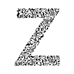 Z letter made of musical notes on white background. Alphabet for art school. Trendy font. Graphic decoration.