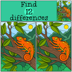 Children games: Find differences. Little cute orange chameleon sist on the tree brahch and smiles.