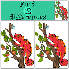 Children games: Find differences. Little cute red chameleon on the tree branch.