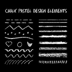 Set of chalk strokes, curved lines