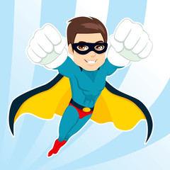 Illustration of handsome muscular strong man in superhero costume flying