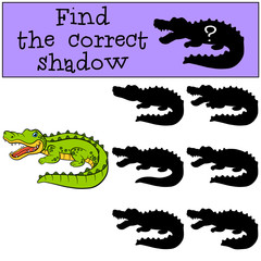 Children games: Find the correct shadow. Cute little alligator.