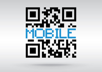 Mobile symbol, vector conceptual QR code to scan