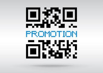 Promotion symbol, vector conceptual QR code to scan