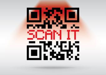 QR code ready to scan, conceptual vector image