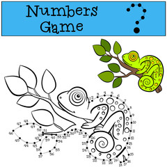 Educational games for kids: Numbers game with contour. Little cute chameleon.