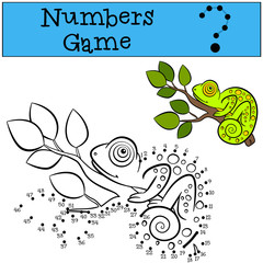 Educational games for kids: Numbers game. Little cute green chameleon.