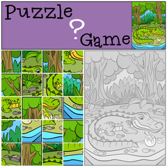 Education games for kids. Puzzle. Mother alligator with her little cute baby alligator in the egg.