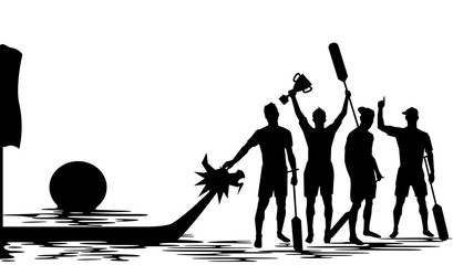 Dragon Boat Crew Winning Silhouette Illustration Design