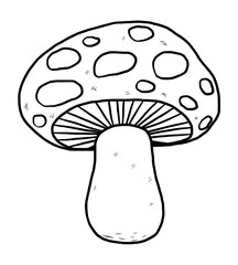 mushroom / cartoon vector and illustration, black and white, hand drawn, sketch style, isolated on white background.