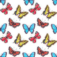 Seamless pattern of butterflies. Pattern of hand drawn butterflies