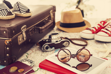 Ready vacation suitcase, holiday concept Wall mural
