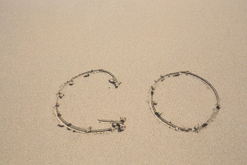 Hand-drawn Go in the Sand. Top view. Journey concept