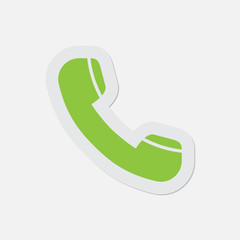 simple green icon - telephone handset