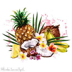 Watercolor Summer Clipart - Tropical Fruit