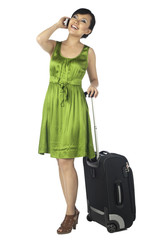 calling female tourist