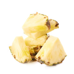 Stack of pineapple slices isolated over white background