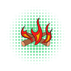Camp fire icon, comics style