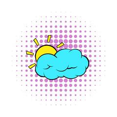 Sun and cloud icon, comics style