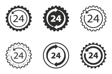 24 hour service icon set