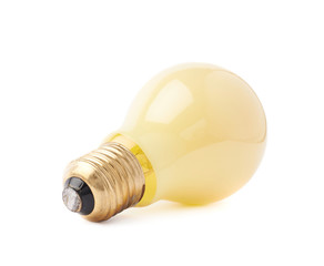 Single electric bulb lying on its side, isolated over the white background