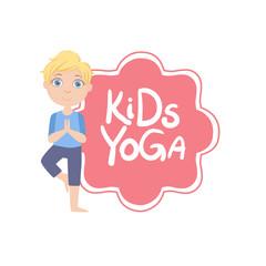 Boy In Tree Pose With Yoga Kids Logo