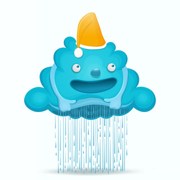 Cartoon cute cloud character with rain drops.