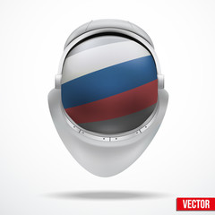 Astronaut helmet with flag Russia