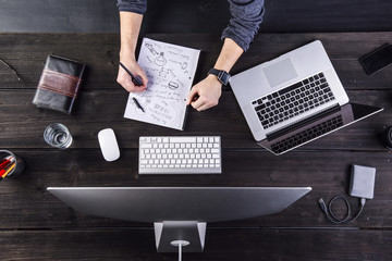 Man working at desk with computer and laptop taking notes on sheet of paper