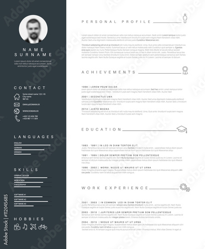 u0026quot minimalist resume cv template with nice typography u0026quot  stock