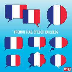 French Flag Speech Bubbles