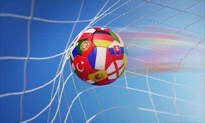 Fußball mit Länderflaggen im Tor