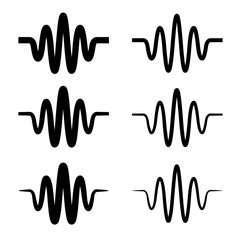 sinusoidal sound wave black symbol vector