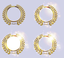 Detailed golden laurel wreath award set. Victory, achievement, honor, quality product, anniversary. Vector illustration. Sparks and light effect element
