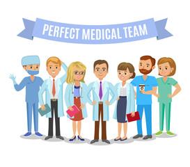 Medical team. Set of hospital medical staff. Doctors, nurses