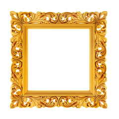 3d gold frame on white background