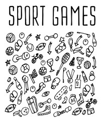 Sport hand drawn seamless logo