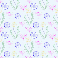 Seamless vector floral pattern. Colorful hand drawn background with different flowers and leaves. Series of Hand Drawn Seamless Patterns.